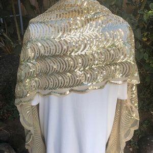 Apt. 9 gold sequin Shawl - Scarf nwot